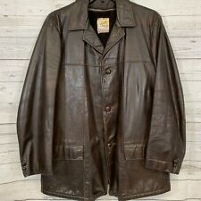 1950's Kurland Solid Brown Genuine Glove Tanned Leather Jacket Mens