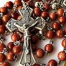 Gold stone PRAYER BEADS & SILVER ROSE BEAD ROSARY ITALY CROSS catholic necklace