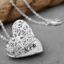 WOMEN'S EXCLUSIVE SILVER PLATED HOLLOW HEART PHOTO LOCKET PENDANT NECKLACE UK