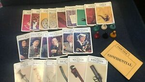 """PARKER BROS ~ """"CLUE"""" Pieces & Parts - 1972 Ed Family Board Game CARDS & TOKENS!"""