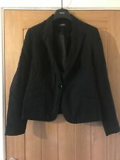 Lovely George Size 14 Black Single Breasted One Button Linen Lined Jacket Blazer
