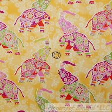 BonEful FABRIC FQ Cotton Quilt Yellow Flower Pink Elephant Large African Ethnic