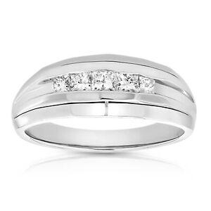 1/2 cttw Men's 5 Stone Princess Diamond Engagement Ring Platinum SI Clarity