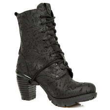 New Rock M.TR001X-S2 All Black Floral Leather Wild Trail Ladies Ankle Boots