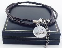 Personalised Leather Bracelet Christmas Gift For Him Dad Unique Mens Charm BFF