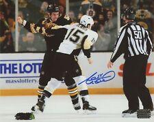 Adam McQuaid Boston Bruins Signed Fight vs Pittsburgh Tanner Glass 8x10