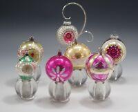VTG LOT OF 7 SHINY BRITE MERCURY GLASS CHRISTMAS ORNAMENTS REFLECTORS BALLS