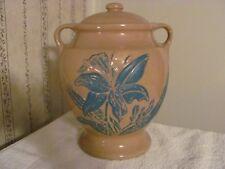 """Cookie Jar  Rare Vintage  McCoy   """"Pottery Jug""""   URN,  Brown with Blue Flowers"""