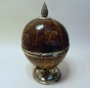 Antique Anglo Indian Coconut Jewellery Box. White Metal Mounts.. C.1880.  (377)