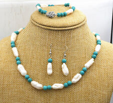 8-16mm natural akoya pearl & 6mm turquoise Necklace Bracelet Earrings Set
