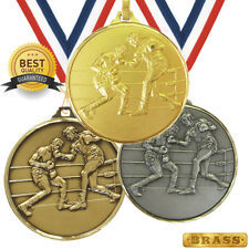 BOXING BRASS MEDAL 52mm BEST QUALITY, FREE RIBBON, 3 COLOURS,