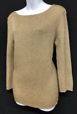 LRL Lauren Ralph Sz XL Gold Metallic Long Sleeve Holiday Christmas Women Sweater