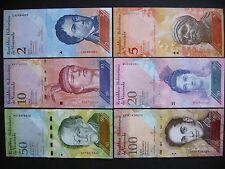 VENEZUELA  2 + 5 + 10 + 20 + 50 + 100 Bolívares 2012/15  (P88 - P93)  UNC