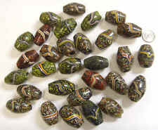 vintage 30 extra large African trader mosaic oval glass beads large hole 43348