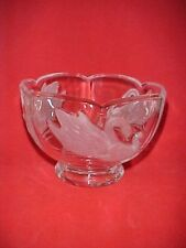 Small Heavy Clear Glass Bowl with Frosted Raised Swan Design Around Bowl