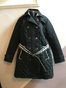 LADIES BURBERRY LONDON BLACK QUILTED BELTED COAT MAC SIZE 4XL