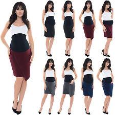 Purpless Maternity Pregnancy Workwear Formal Asymmetric Skirt Skirts1508