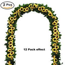 2pcs Artificial Sunflower Garland Silk Vine Sunflower Wedding Garden Table Decor