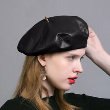 Soft Womens Faux Leather Beret Beanie Cap Army Military Hat Fashion Dress A575