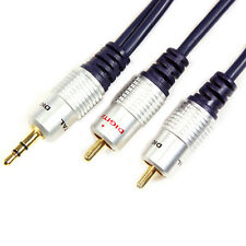 2m - 3.5mm Jack Plug to 2 RCA/Phono Male Cable - MP3/iPhone/iPod/Phone/Amp Lead