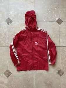 VTG Adidas Trefoil Logo Full Zip Red Nylon Windbreaker Jacket Size Medium 90s