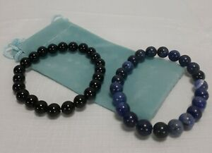 2 Lapis Lazuli Stretch Stone Beaded Bracelets in Blue and Black (FS)