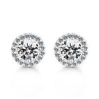 Simple Women Girl Rhinestone Crystal Round Zircon Stud Earrings Jewelry Gifts