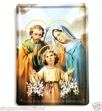 COLLECTIBLE VINTAGE THEMED CATHOLIC TIN SIGN: HOLY FAMILY JESUS MARY JOSEPH RARE