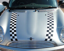 Genuine easy fit vinyl CHEQUERED pattern bonnet stripes Mini Cooper Mini One