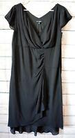 Liz Jordan Noni B Dress Size 16 Xl Black Sleeveless Wrap Shift