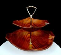 "CALIFORNIA ORIGINALS #136/137 POTTERY WOOD GRAIN DESIGN 2 TIER 9 1/2"" SERVER"