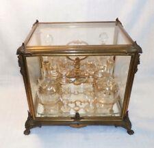 French Gilt Bronze Tantalus Liquor Box Caddy Cave a Liqueur Decanter 1883 Glass