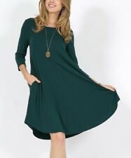 Ladies Size 8 Hunter Green Tunic Dress With Pockets Womens New -440