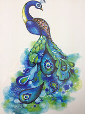 Colorful Blue peacock Tail Feather Temporary Tattoo Sticker Body Art Waterproof