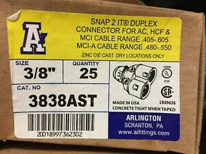 "ARLINGTON 3838AST (25 Pack) 3/8"" Snap2it Duplex Connector w/Insulated Throat USA"