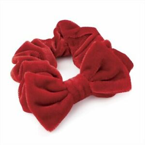 HA27469 Soft Velvet Feel Hair Scrunchie Band with Bow in Red