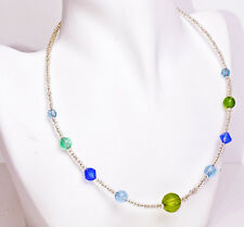 CUTE BLUE/GREEN BEADS CHOKER CASUAL STYLE PERFECT GIFT SUMMER TREND FINE (ZX20)