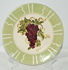 """Vintage Lynn's Stoneware 8"""" Plate Grapes Motif Hand Painted Artist Signed"""