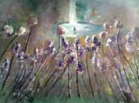 "48"" Original Modern Art Contemporary Floral Landscape Painting Heaven on Earth"