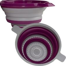 Folding Collapsible Silicone Strainer - Set of 2 Colanders | Fruit Veggies Pasta
