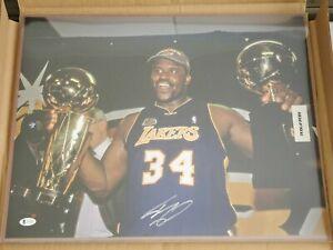 Shaquille O'Neal HOF Signed 16x20 Lakers Finals Trophy Autograph Beckett BAS COA