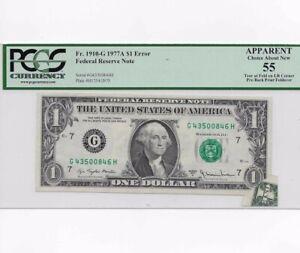1977 A $1 Error FRN Pre Back Print Fold Over Certified Grade 55 1910-G