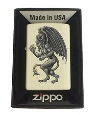 Zippo Custom Lighter Demon Gargoyle Winged Horror Monster Cream Matte New Gift