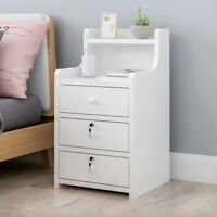 Modern Bedside Table Nightstand 3 Storage Drawers Bedroom Cabinet With Lock US