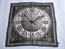 Liberty Square Italian Silk Scarf Clock Face Pattern Grey Headscarf Vtg ACCp#163