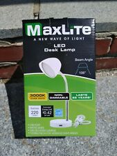 MaxLite LED Blue Desk Lamp with USB Charging Port Adjustable Neck On/Off Switch