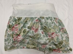 """LAURA ASHLEY BED SKIRT/DUST RUFFLE QUEEN 14"""" DROP PINK ROSES GREEN LEAVES SHABBY"""