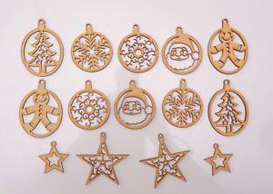 Christmas Wooden MDF Blank - 14 Baubles: Christmas Tree, Santa, Star, Snowflake