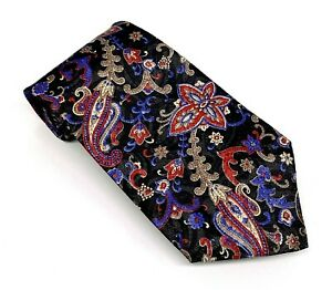 The Men's Store Classy Black Red Blue Brown Floral Poly 56 x 3.75 Short USA New