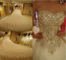New luxury Crystal diamond White/Ivory  Wedding Dress Bridal Gown Custom Size